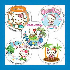 15 Hello Kitty Luau Stickers Party Favors