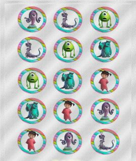 N350 Edible Image Birthday Cake Cookie Cupcake Toppers Monsters Sully Mike Boo