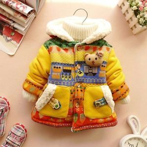 Baby Girls 3D Bear Warm Winter Jacket Gown Clothing Kids Snowsuit Coat Clothes J