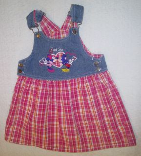 Baby Clothes Disney Mickey and Minnie Mouse Denim Jumper Dress 3 Toddler Outfit