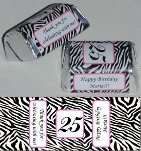 Zebra Print Birthday Party Candy Nugget Wrappers Personalized Favors Supplies