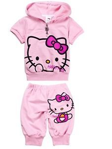 "New Baby Kids Girls T Shirt Short Pants Set Clothes Costume Pink ""Kitty"" Y9"