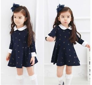 Baby Girl Dress Kid Skirt Baby Girl Clothes 3T Dress Long Sleev Cotton Navy Blue