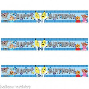 4 5M Blue Bananas in Pyjamas Stripe Happy Birthday Party Foil Banner Decoration