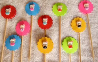 Hello Kitty Cupcake Toppers Birthday Party Favors 10