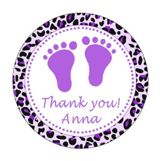 40 Stickers Thank You Labels Purple Violet Leopard Baby Girl Shower Feet