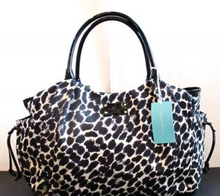 New Authentic Kate Spade Lindenwood Leopard Nylon Stevie Baby Diaper Bag
