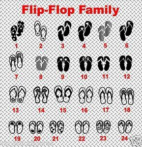 Flip Flop Beach Sandals Die Cut Vinyl Family Car Stickers Laptop Window Decals
