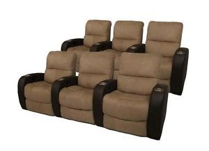 Seatcraft Catalina Home Theater Seating 6 Seats Brown Manual Chairs