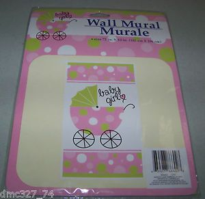 Baby Shower Decoration Pink Green Baby Girl Carriage Wall Door Mural New