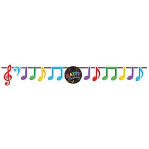 Band Music Party Supplies Colorful Musical Notes Birthday Ribbon Banner Sign