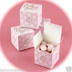 25 Pink Polka Dotted Baby Girl Favor Boxes New Darling