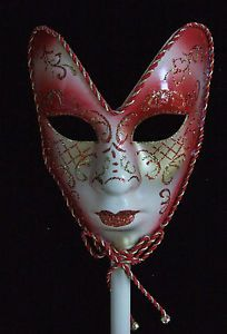 Venetian Mask Full Face Red Mardi Gras Stick Costume Party New Orleans