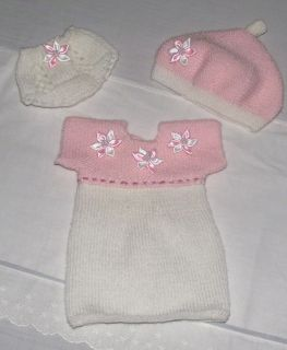 Hand Knitted Baby Reborn Doll Dress Hat Panties Set 14 16 Inch