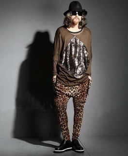 Wholesales New 2013 Style Men's Slim Leopard Print V Neck Short Sleeve T Shirt