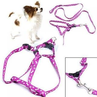 Purple Bone Paws Print Small Dog Pet Leash Lead Harness Tool