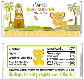 Lion Jungle Baby Shower Candy Wrappers Party Favors Custom Personalized