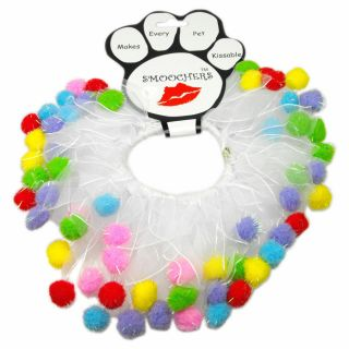 Party Birthday Multi Colored Pom Poms Pet Dog Collar