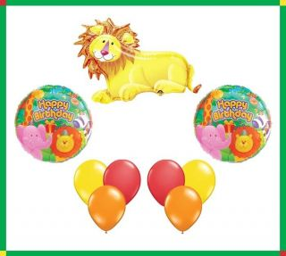 Lion Jungle Theme Happy Birthday Party Balloon Set Lot Foil Mylar Latex Bouquet