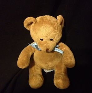 Russ Baby Plush Brown Teddy Bear Rattle Blue Gingham Bow
