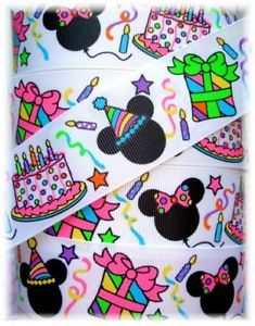 1 5 Happy Birthday Party Minnie Mickey Grosgrain Ribbon