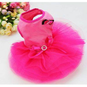 Lovely Pet Dog Tutu Layered Bow Party Princess Dress Skirt Clothes Hot Pink