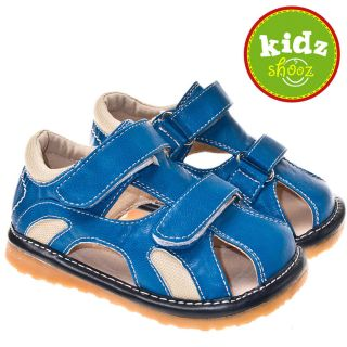 Boys Toddler Leather Squeaky Shoes Sandals Blue Cream