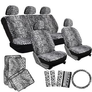 15pc Set Seat Cover Gray Leopard Cheetah Animal Floor Mat Wheel Belt Head Pads