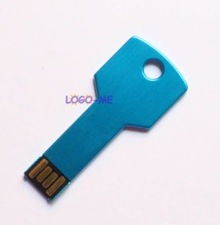 Blue USB Metal Key Drive Memory Flash Pendrive 2GB 4GB 8GB 16GB Thumb Stick