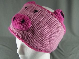 Pink Pig Piggy Oink Face Knit Ear Warmer Muff Wool Head Wrap Hat Headband Fleece