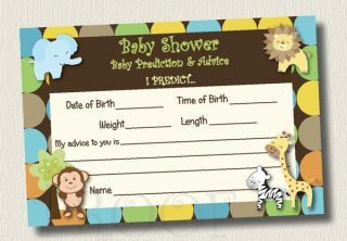 20 King of Jungle Monkey Zebra Baby Shower Advice Cards Prediction Game Giraffe