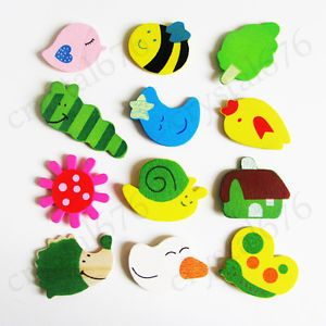 12pcs Wooden Cartoon Lovely Cute Fridge Magnets Baby Child Educational Toy 4