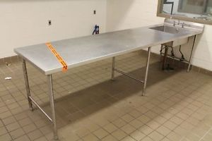 Commercial Stainless Steel Food Prep Table 135 x 36 24x24x10 Sink Backsplash