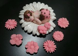 Fondant Edible Baby Daisy Cake Topper Favor Decoration Baby Shower Birthday 1st