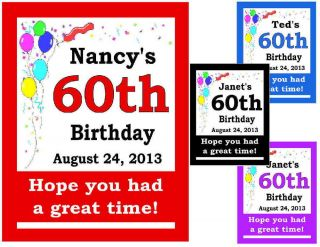 Custom 60th Birthday Party Favors Magnets Set of 15
