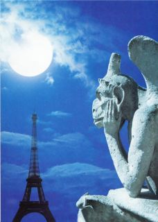 Gargoyle at Notre Dame Cathedral Eiffel Tower Full Moon Paris Postcard