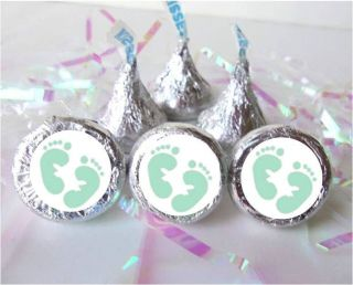 150 Green Footprints Feet Baby Shower Favors Candy Labels Fits Hershey Kisses