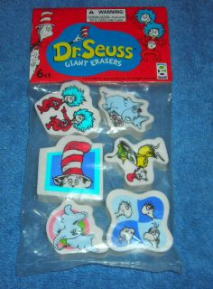 Dr Seuss Horton Thing 1 2 Cat in Hat Giant Pen Pencil Top Erasers Set of 6