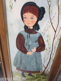 Vtg Prairie Amish Primitive Children Wall Hanging Art Painting Turner Decor 60s