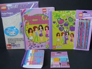 New Lego Friends School Supply Lot Folders Spiral Notebook Pencils Erasers Paper