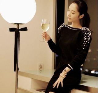 2013 Lady Luxury Pearls Beaded Sexy Deep V Backless Long Sleeve Short Mini Dress