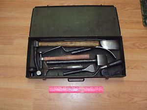 Vintage Auto Body Tool Kit Hammer Dolly Spoon File Fairmount Tool Box