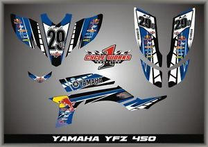 Retro YFZ450 YFZ 450 Yamaha Graphics Semi Custom Graphic Kit Pegantinas Blue
