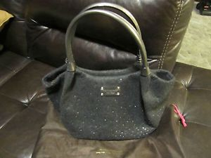 Auth Kate Spade Brigette Rhinestone Frosted Felt Tote Bag in Charcoal