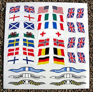 Slot Car Scalextric SCX 1 32nd Vintage Style World Flags Stickers Decals