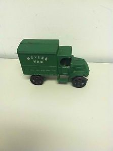 Vintage Hand Painted Cast Iron Moving Van Toy Truck Great Condition