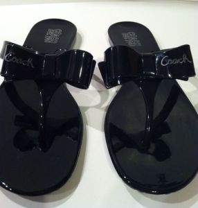 Coach Black Patent Leather Bow Flip Flop Jelly Sandals Shoes Size 7