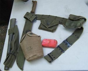US Military WWII Web Belt Canteen Pick Ammo Pouch First Aid Kit Machette Boyt