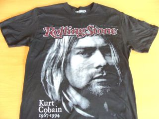 Rolling Stone Cover Black Tee Shirt Nirvana Kurt Cobain Memorial Adult Sizes
