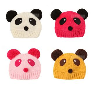 Lovely Baby Girls Boys Panda Hats Cartoon Sweater Caps Toddlers Children Clothes